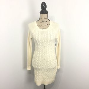 Old Navy XS Sweater Dress Cream Cable Knit Long